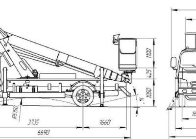 Габариты японской автовышки 28 метра DHS 280-AP на базе HYUNDAI