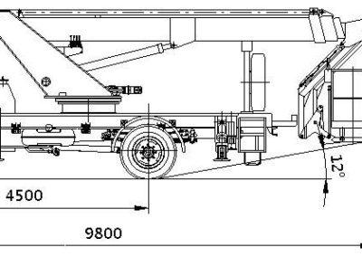 Схема и габариты автовышкуи 28м ПАРТ-28
